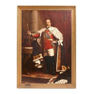 LARGE OIL PAINTING OF KING EDWARD VII, ATTRIBUTED TO