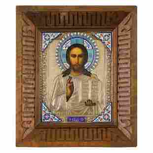 RUSSIAN SILVER GILT AND ENAMEL ICON OF CHRIST