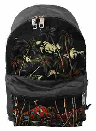 Black Trees Volcano Print School Backpack Nylon Bag