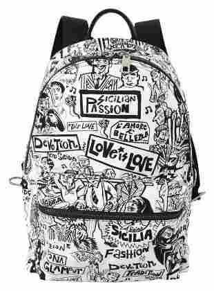 White Sicilian Passion Print Men Nylon Bag