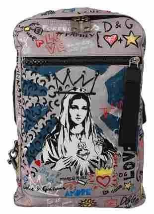 Gray #dgfamily Print Travel School Backpack Nylon Bag
