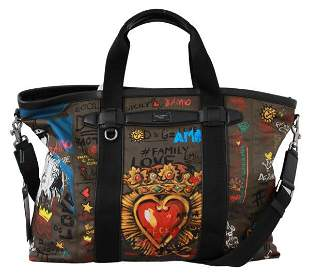 Brown #dgfamily Print Men Travel Duffle Sack Nylon Bag