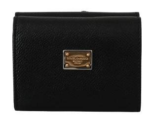 Black Leather Trifold Amore Heart Sequin Wallet