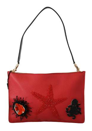 Red Sea Shell Shoulder Purse Borse Leather CLEO Bag