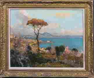 Bay Of Naples Mount Vesuvius Landscape Oil Painting