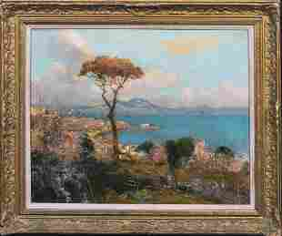 Bay Of Naples Mount Vesuvius Landscape Oil Painting