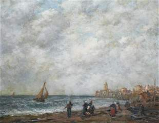 Trouville Harbour Landscape Oil Painting