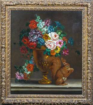 Still Life Flowers & Squirrel Oil Painting