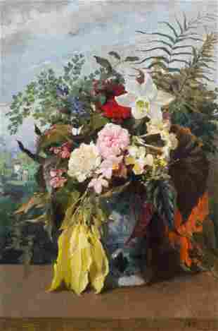 Still Life Of Summer Flowers Oil Painting