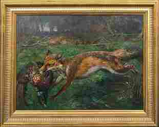 Fox & Pheasant Landscape Oil Painting