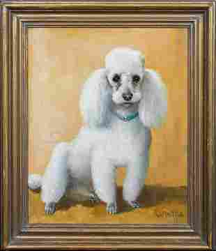 Portrait Of A White Toy Poodle Oil Painting