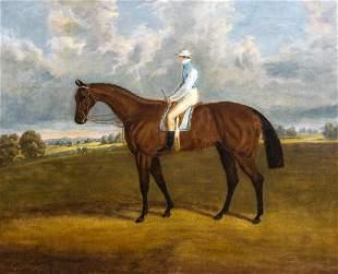 Bay Race Horse & Jockey Oil Painting