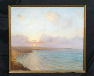 Sunset Coastal Beach Seascape Oil Painting