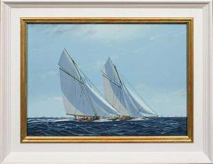 America's Cup Series 13th Challenge 1920 Oil Painting