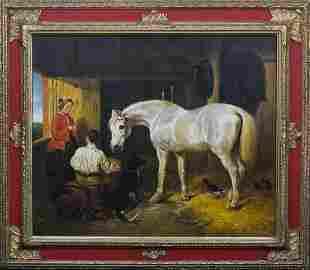 Horse, Dog & Ducks Oil Painting