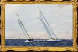 America's Cup Series 8th Challenge 1893 Oil Painting