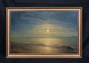 Moonlit Coastal Beach Landscape Oil Painting