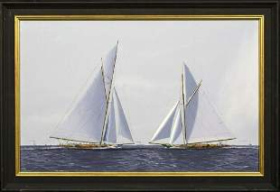 America's Cup Series 10th Challenge 1899 Oil Painting