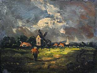 Windmill Landscape Oil Painting