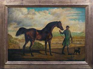Portrait of A Man, Horse & Dog Oil Painting