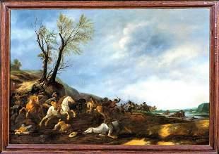 Battle Skirmish Landscape Oil Painting