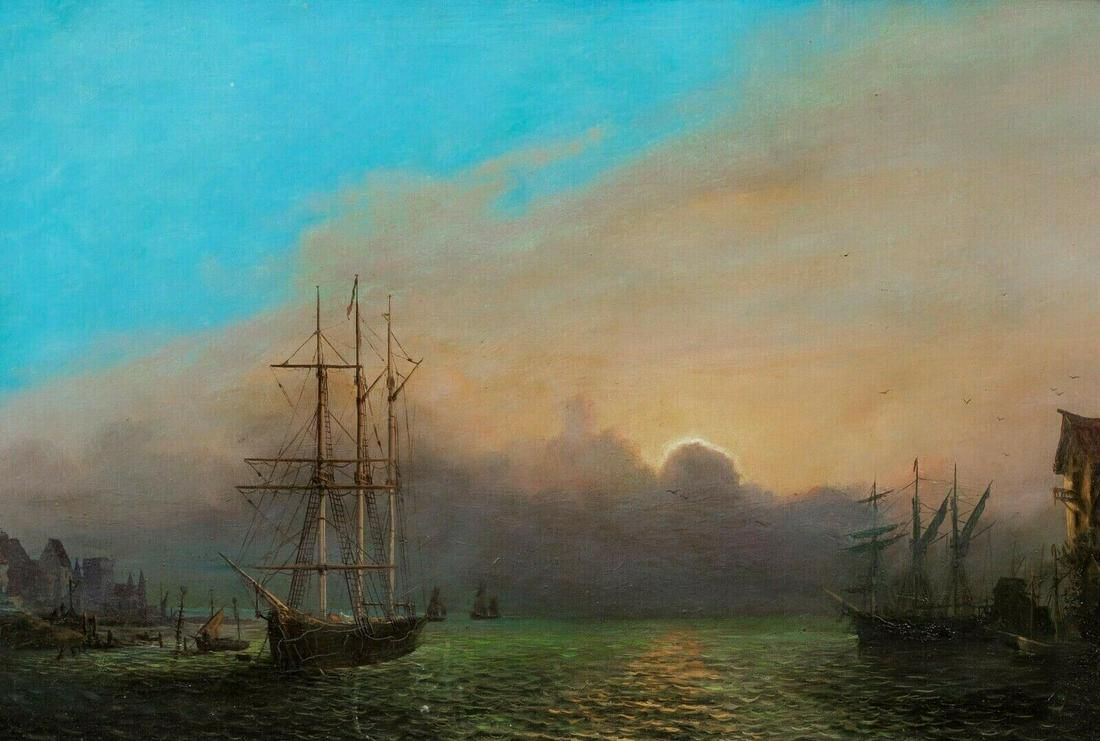 Harbour At Sunset Oil Painting