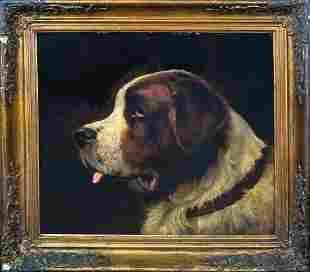Portrait Of A Saint Bernard Dog Oil Painting