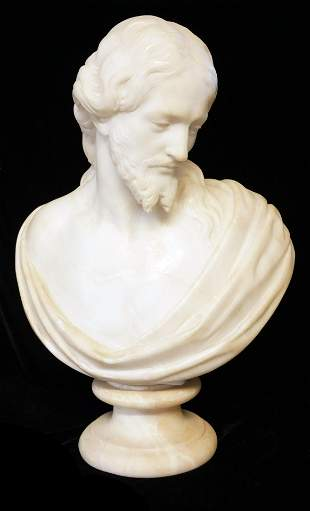 A 19TH CENTURY WHITE MARBLE BUST OF CHRIST