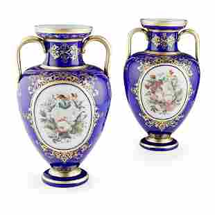 ATTRIBUTED TO BACCARAT, A PAIR OF BLUE GROUND OPALINE