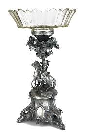 A 19TH CENTURY WHITE METAL AND LEAD CRYSTAL FIGURAL