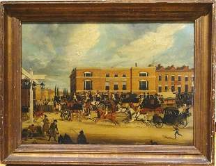 Elephant & Castle Horse Carriages Oil Painting