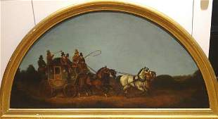 Night Carriage Coach Horses Oil Painting