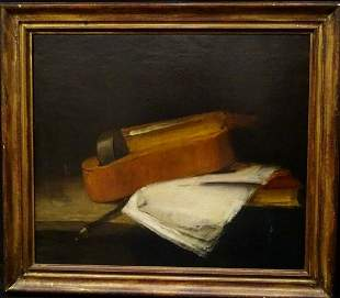 Violin Music Still Life Oil Painting