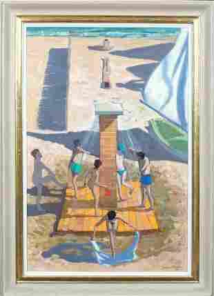Beach Children Shower Oil Painting