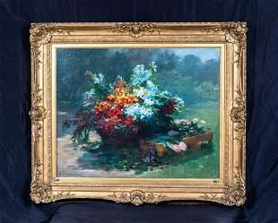 Still Life Bouquet Wild Summer Flowers Oil Painting