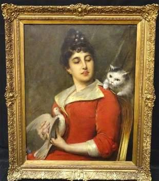 Cat & Bird Portrait Oil Painting