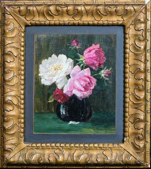 Still Life Pink White Roses Oil Painting