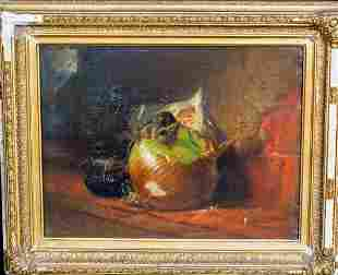 Still Life Mice & Onion Oil Painting