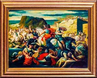 Battle Scene Siege Of City Oil Painting