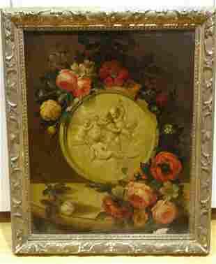 Still Life Marble Cherub Oil Painting