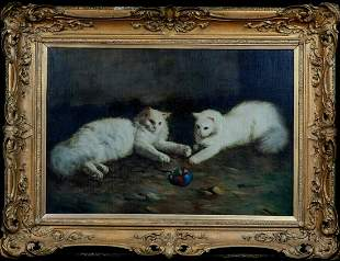 Angora Cats Playing Oil Painting