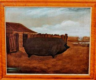 Prize Pig Farm Oil Painting