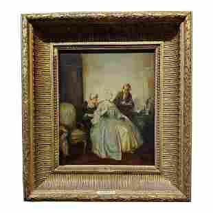 Elegant Woman in a French Interior Oil Painting