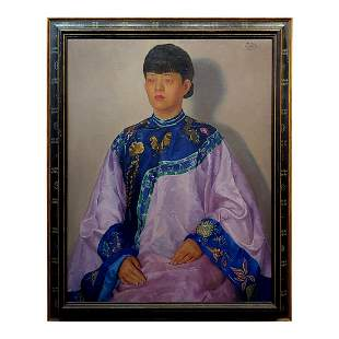 Chinese Woman Wearing a Wedding Dress Oil Painting