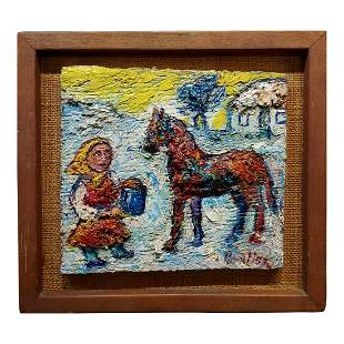 Little Girl Offering Water to Her Horse Oil Painting