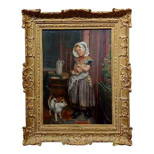 Girl with Doll & a Cat Oil Painting