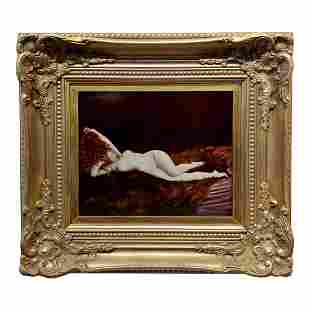 Reclining Nude Beauty & the Beast Oil Painting