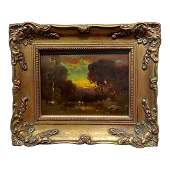 Cows at a Watering Hole in a Barbizon Landscape Oil
