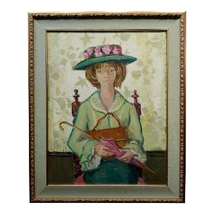 Portrait of a Big Green Eyes Girl in a Hat Oil Painting