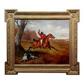 Horse Rider in Red Coat Whipping His Dog During Fox